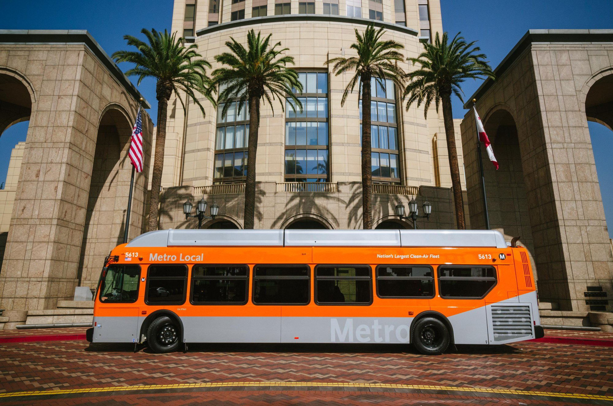 One of the New Flyer buses recently put into service in front of Metro HQ. Photo by Steve Hymon/Metro.