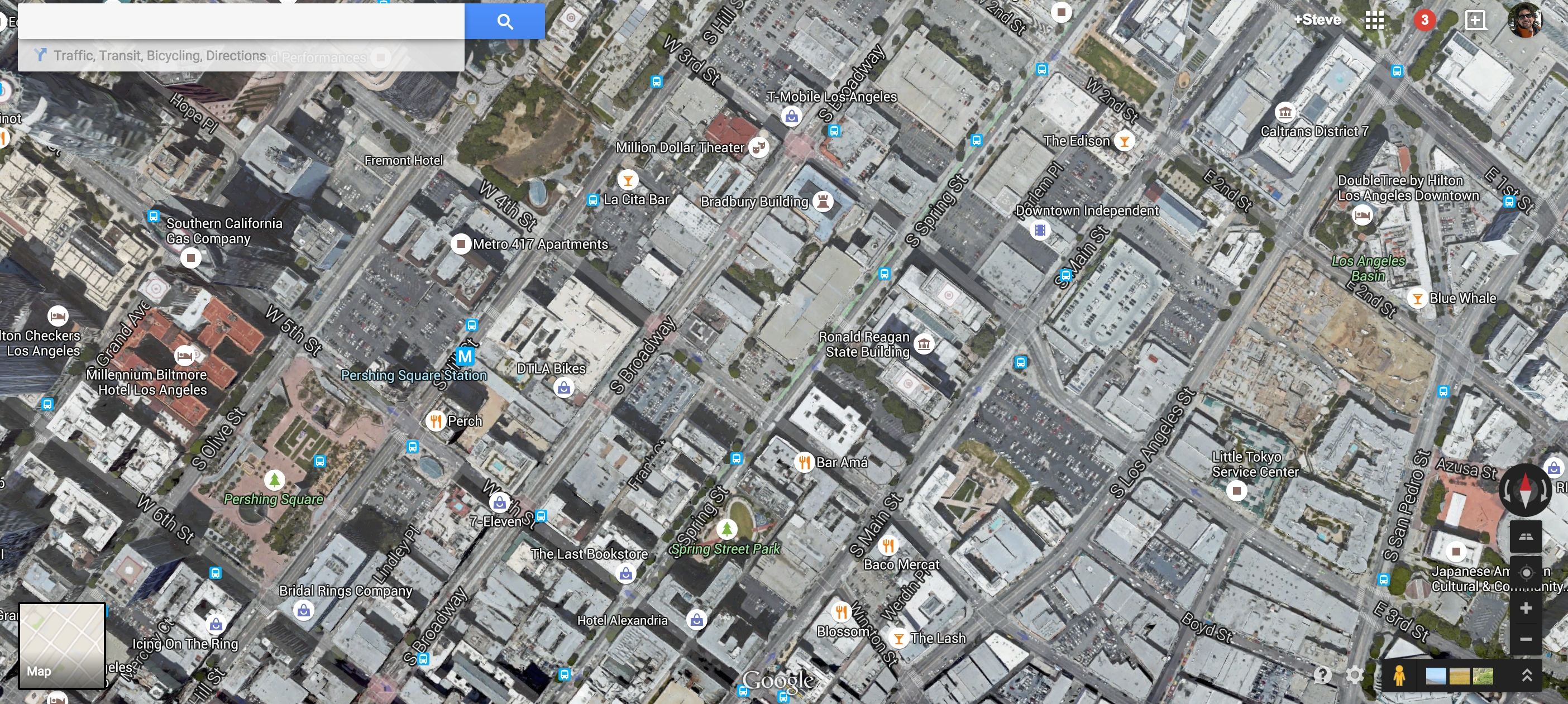 A view of some of DTLA and its plentiful parking lots via Google Maps.