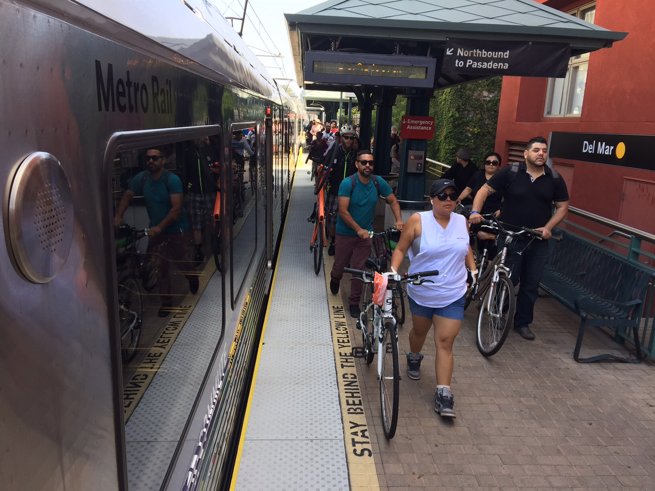 ART OF TRANSIT: Cyclists exiting Del Mar Station in Pasadena for the CicLAvia event Saturday. Click on the pic to see more from our photo gallery. Photo: Metro.