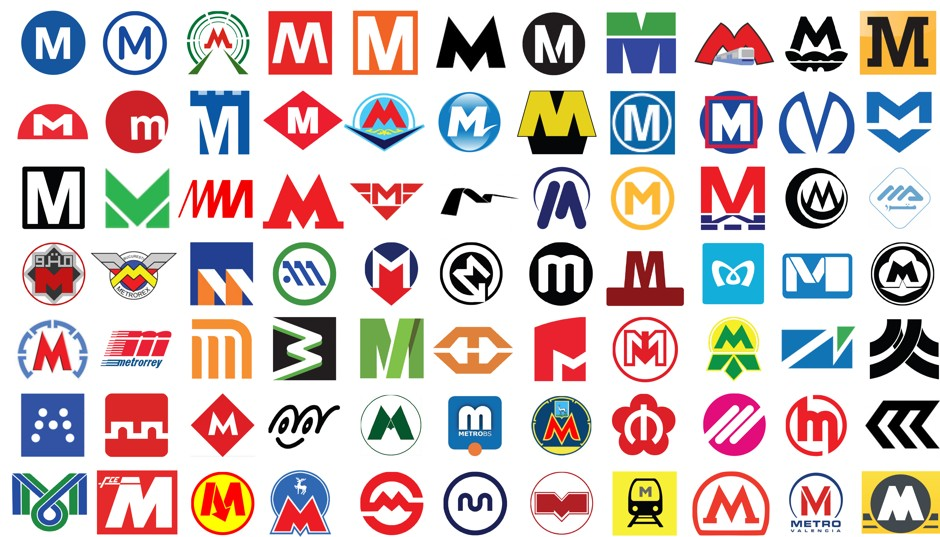 The Metro logos of the world. (Photo: Marc Byrnes/CityLab)