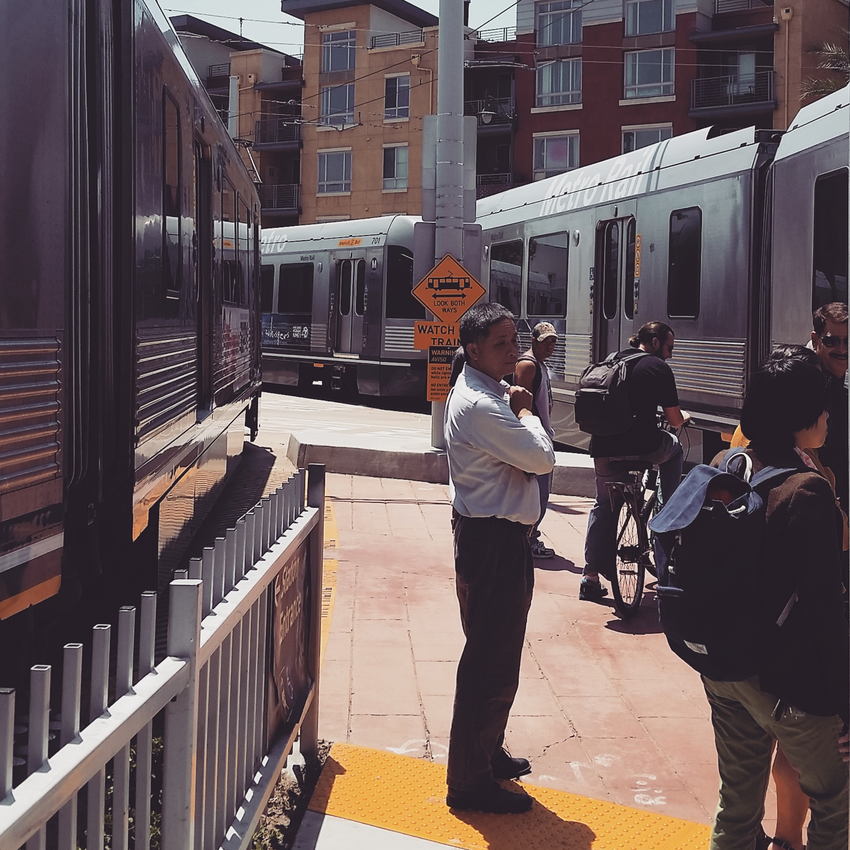 Gold Line trains in Little Tokyo. Photo by Anna Chen / Metro.