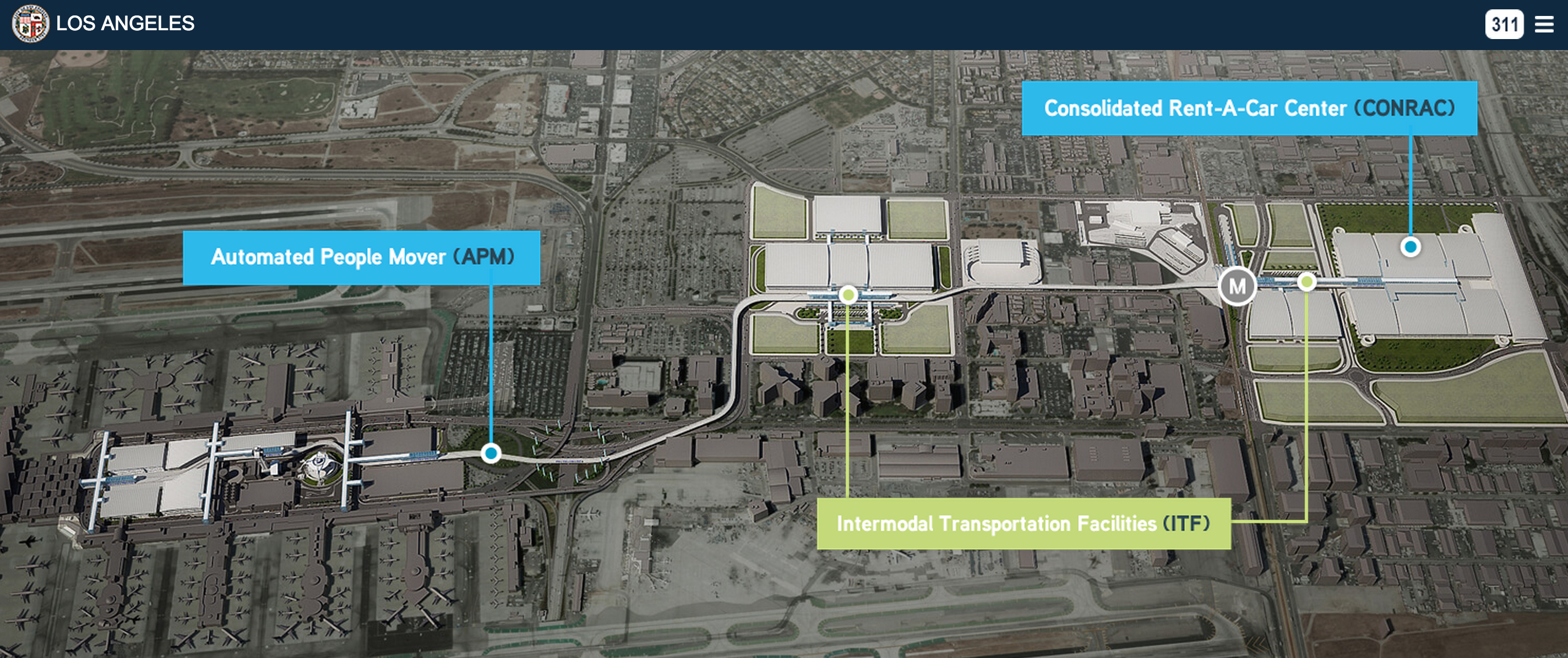 The people mover's route. The 'M' shows the station that will connect with the Crenshaw/LAX Line. Source: Los Angeles World's Airport.