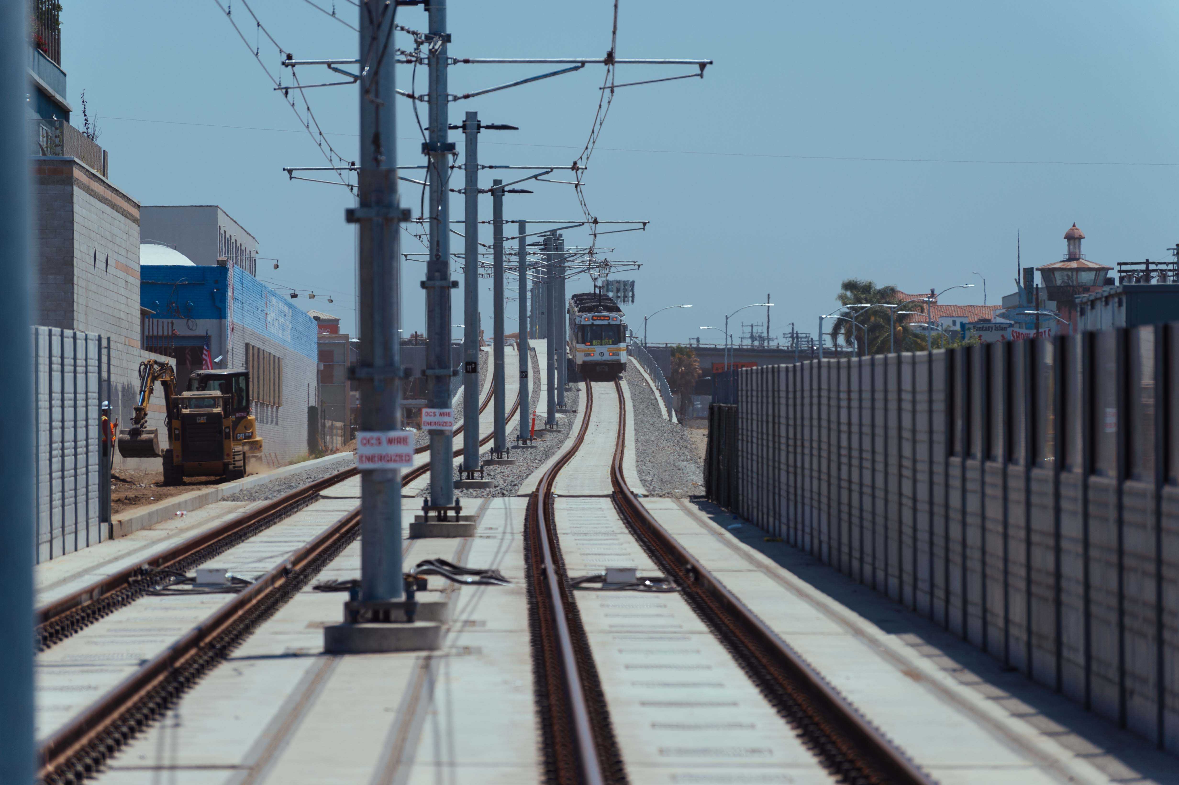An Expo Line test train on the tracks east of Barrington Avenue in West L.A. in June.