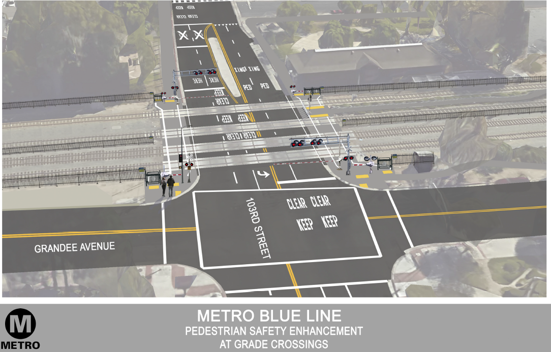 A Metro rendering of the new pedestrian gates to be installed at 27 Blue Line intersections.