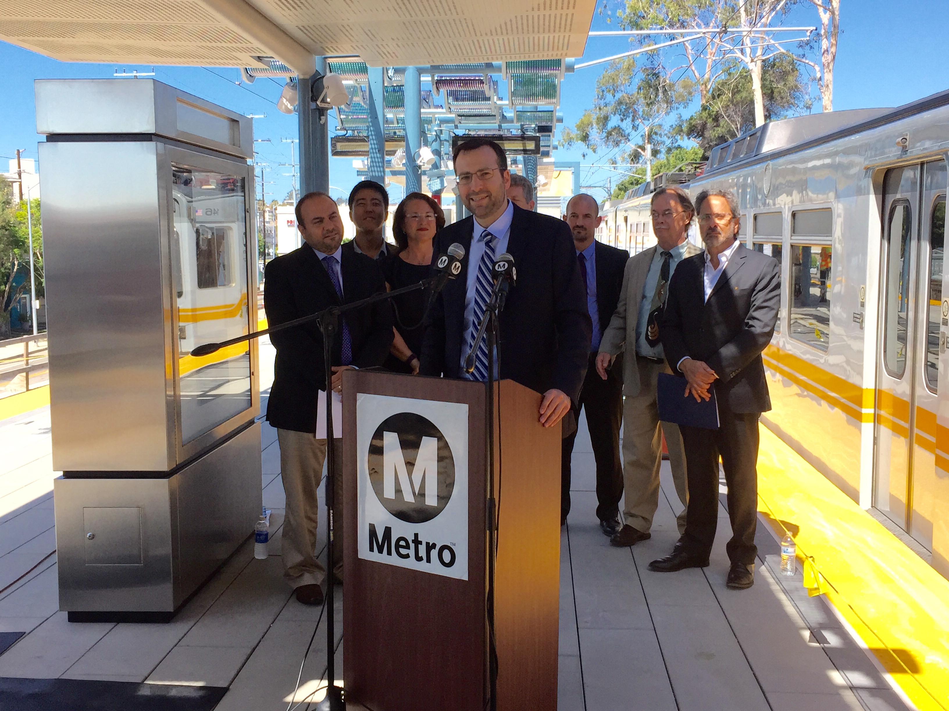 State Sen. Ben Allen speaks at this morning's press event. Photo: Dave Sotero/Metro.