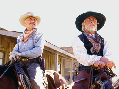 The former Texas Rangers Gus McCrae/Robert Duvall at left and William Call/Tommy Lee Jones at right.