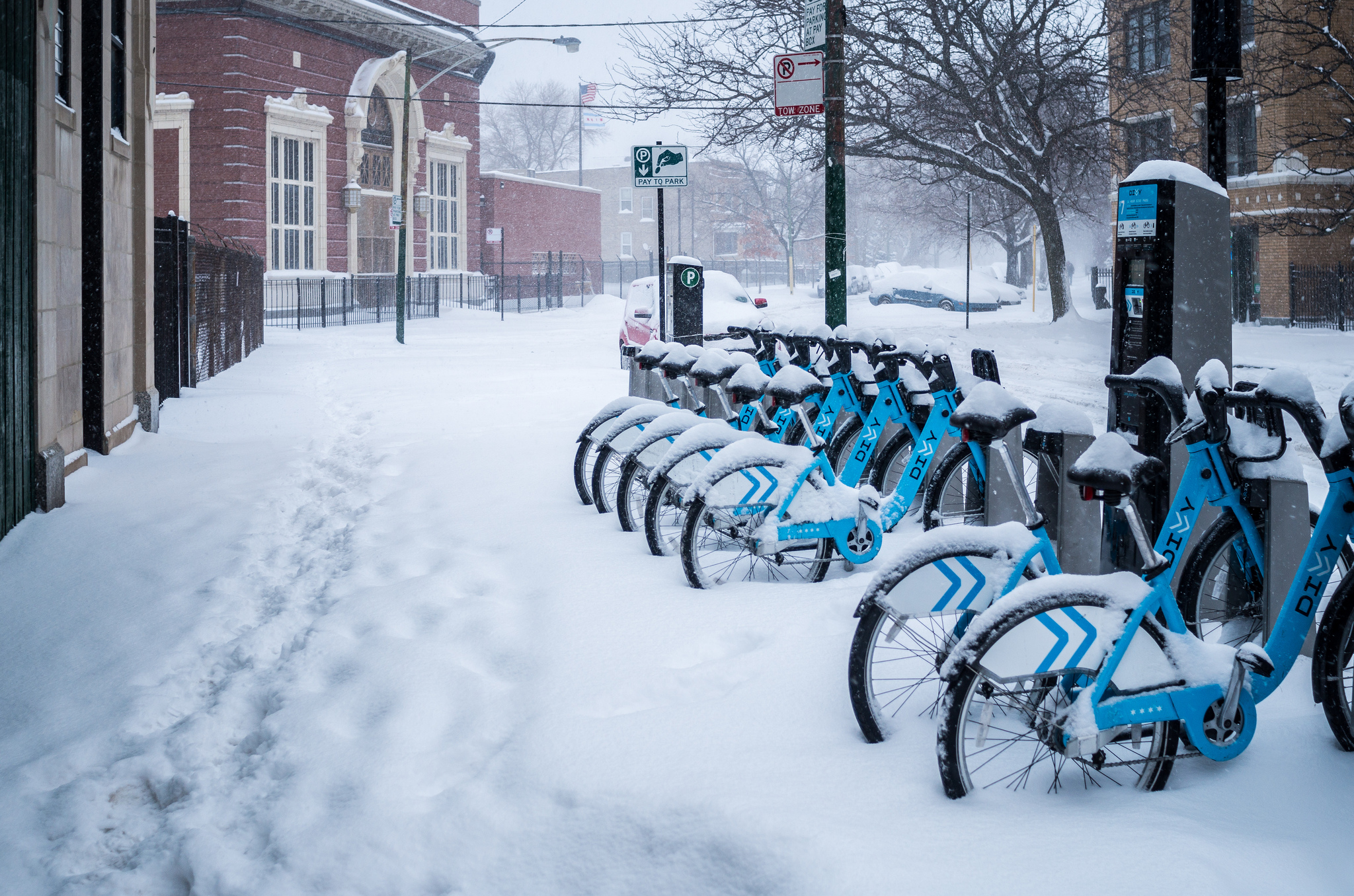 Divvy bikes in winter. Photo by Andrew Seaman via Flickr Creative Commons.