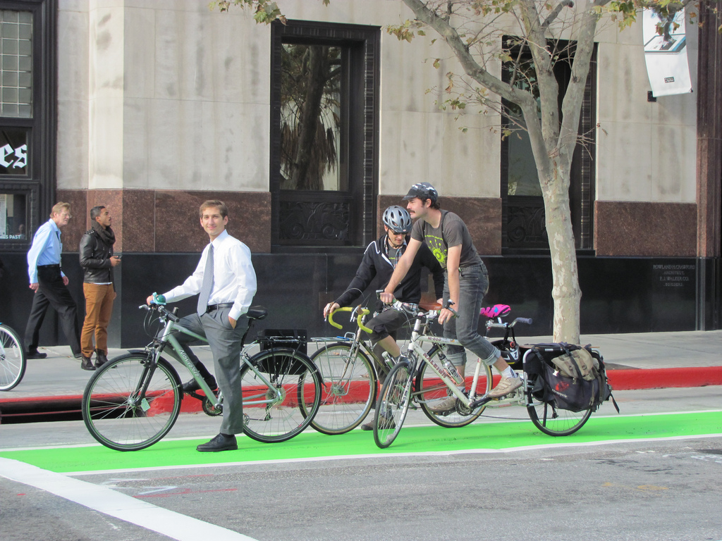 The Spring Street bike lane in DTLA. Photo: LADOT.