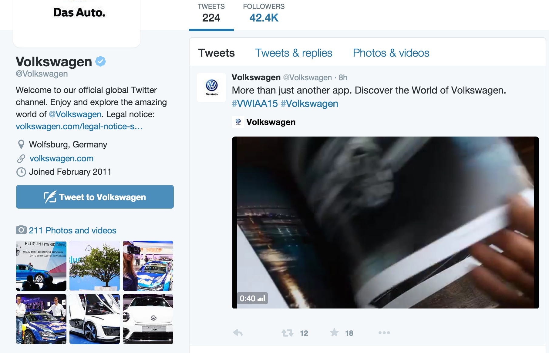 Looks like the VW Twitter account is taking the time-honored 'head in the sand' approach.