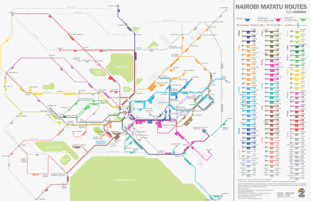 The new mini-bus map for Nairobi.