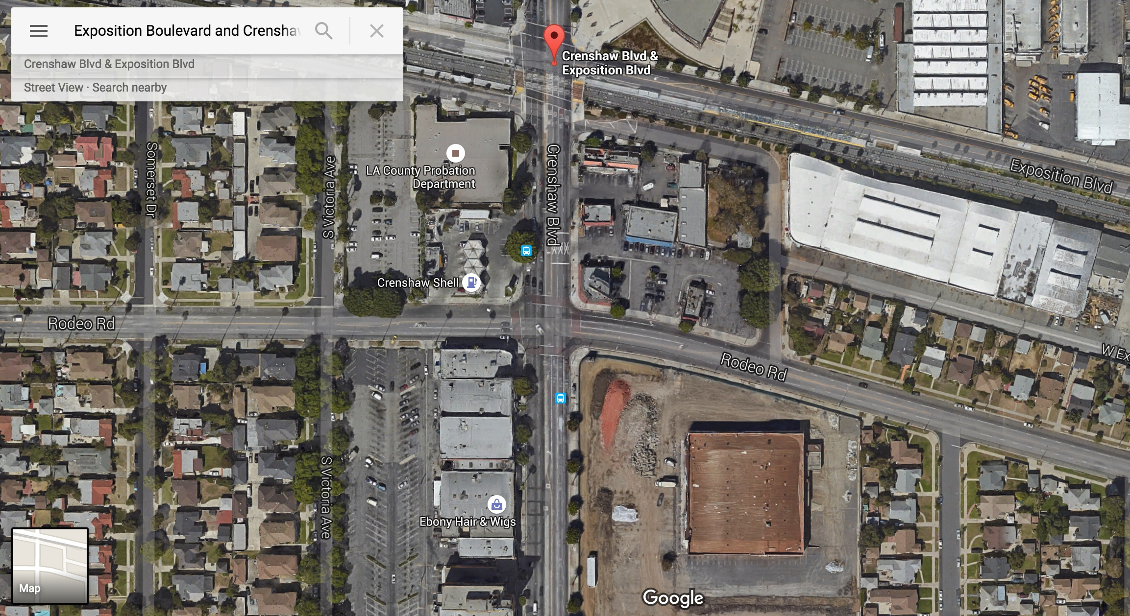 A developer is proposing 200 or so residences for the southeast corner of Crenshaw and Rodeo Road. Photo: Google Maps.