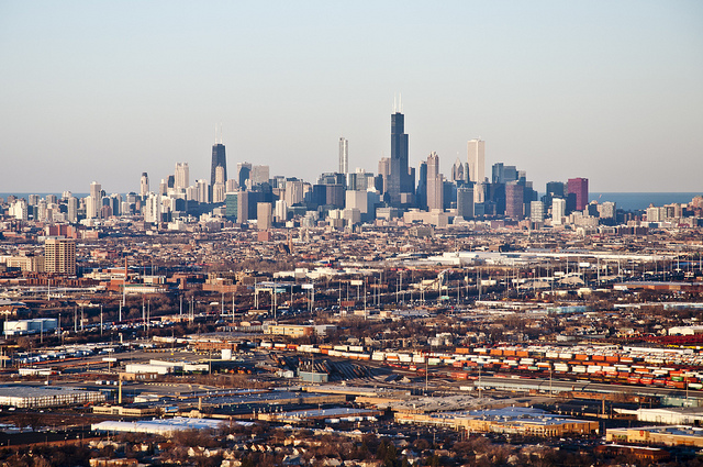 Chicago is pushing for more density near transit stops that are outside of downtown. Photo by vxla, via Flickr creative commons.