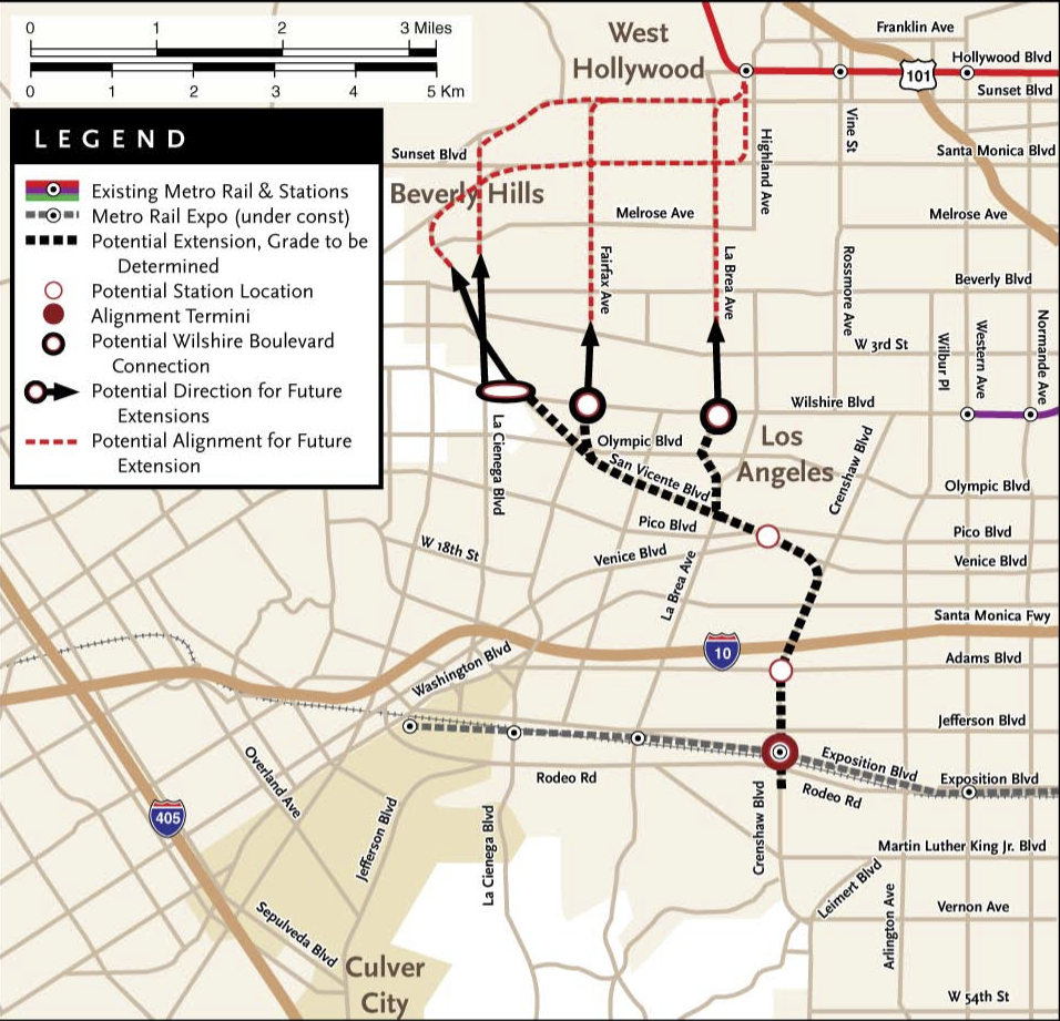 a map from a metro study that briefly explored some possible extensions for the crenshaw