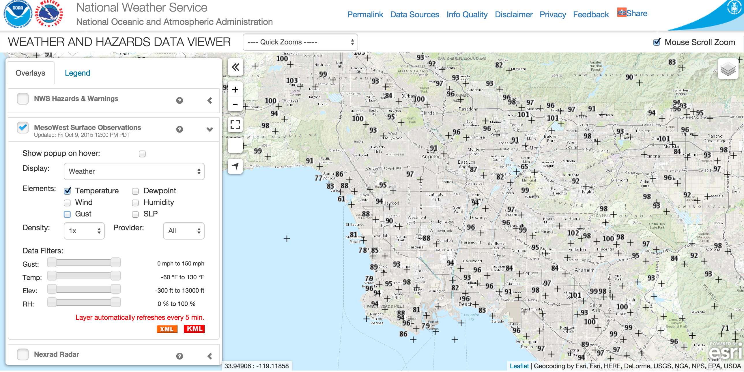 Temperatures across Los Angeles County at noon today. Source: National Weather Service. Click to see larger.