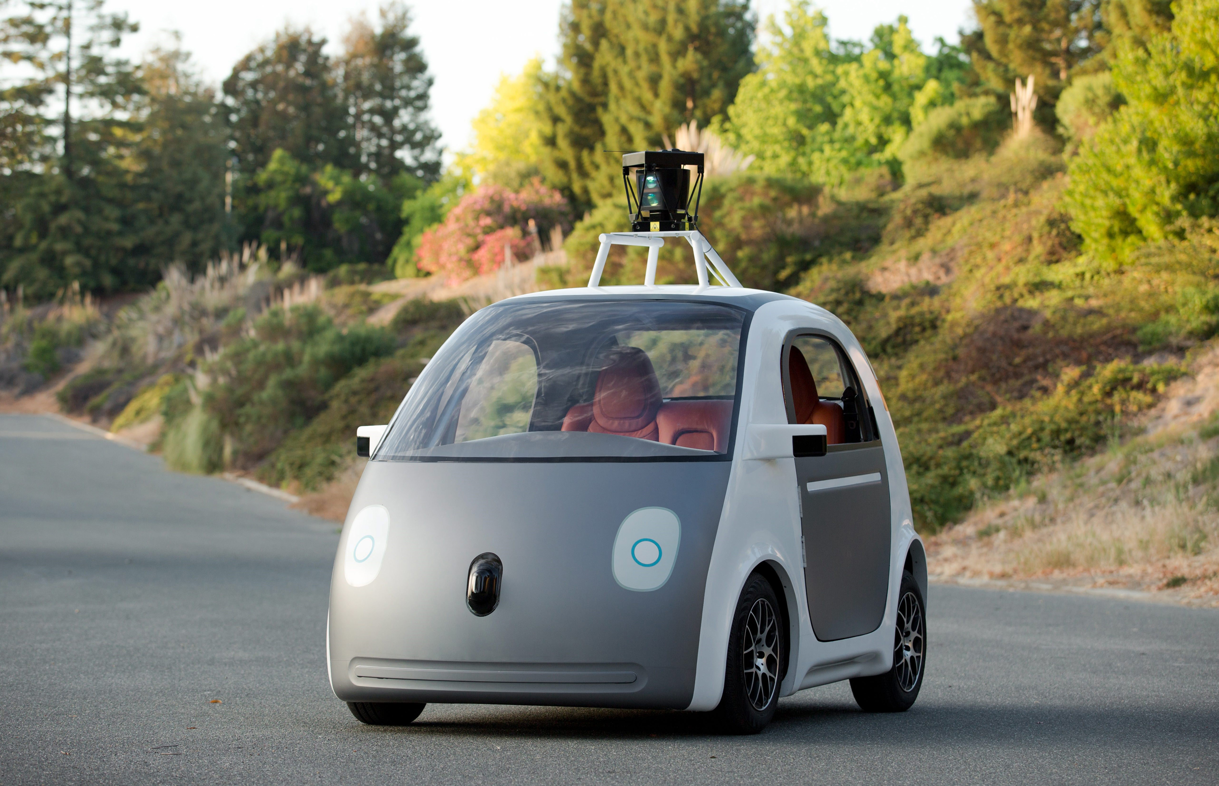 An early prototype of a self-driving Google car.