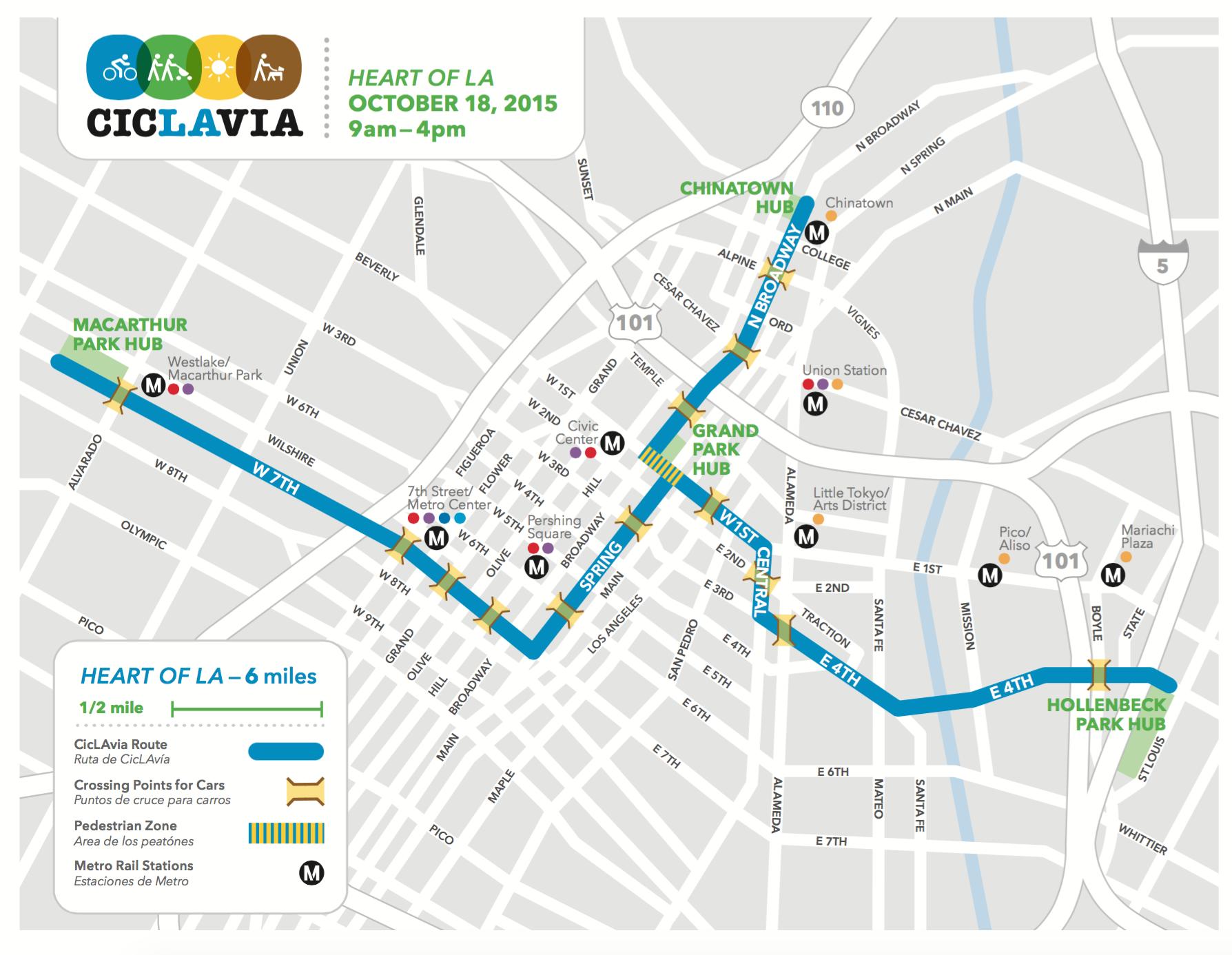 ciclavia map 2015