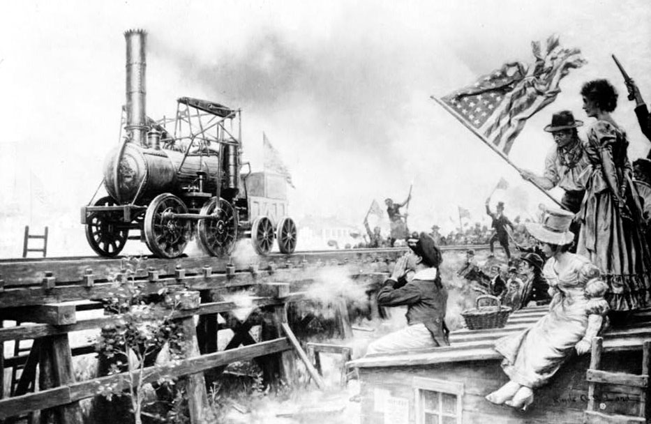 A depiction of the test run in 1829 of the Stourbridge Lion -- the first steam locomotive in the U.S. Source: Wikimedia Commons.