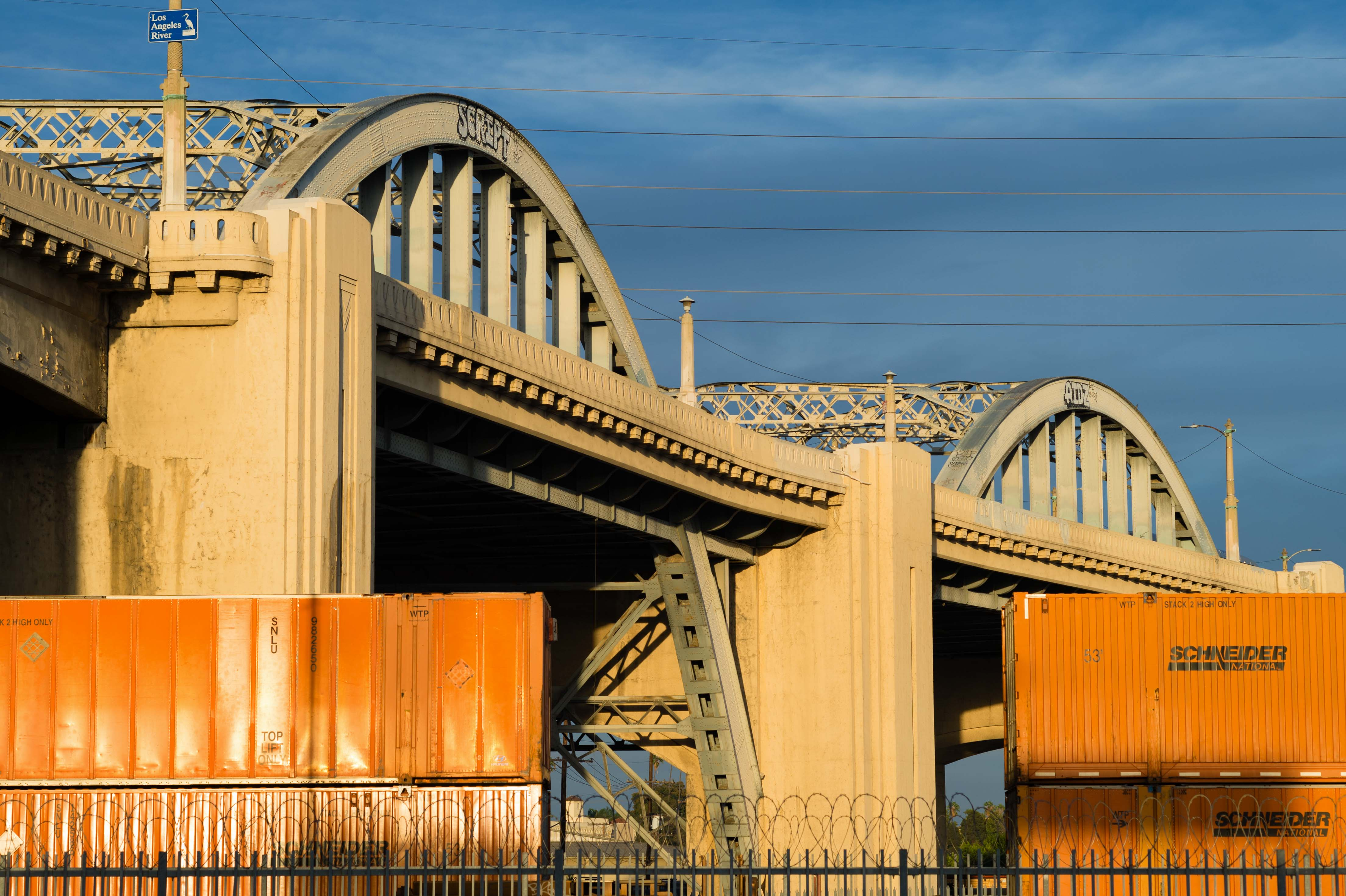 Goodbye 6th Street Bridge -- the going away party was held Saturday. FWIW, I was always less than awestruck by the bridge and look forward to some long overdue infrastructure in DTLA. Photo by Steve Hymon.