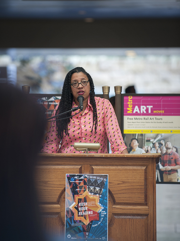"Poet Robin Coste Lewis reading from her work as part of ""Rush Hour Reading"" at Union Station in April 2015"