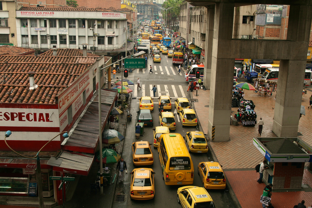 Traffic in central Medellin as seen in a 2011 photo. Credit: Andrew, via Flickr creative commons.