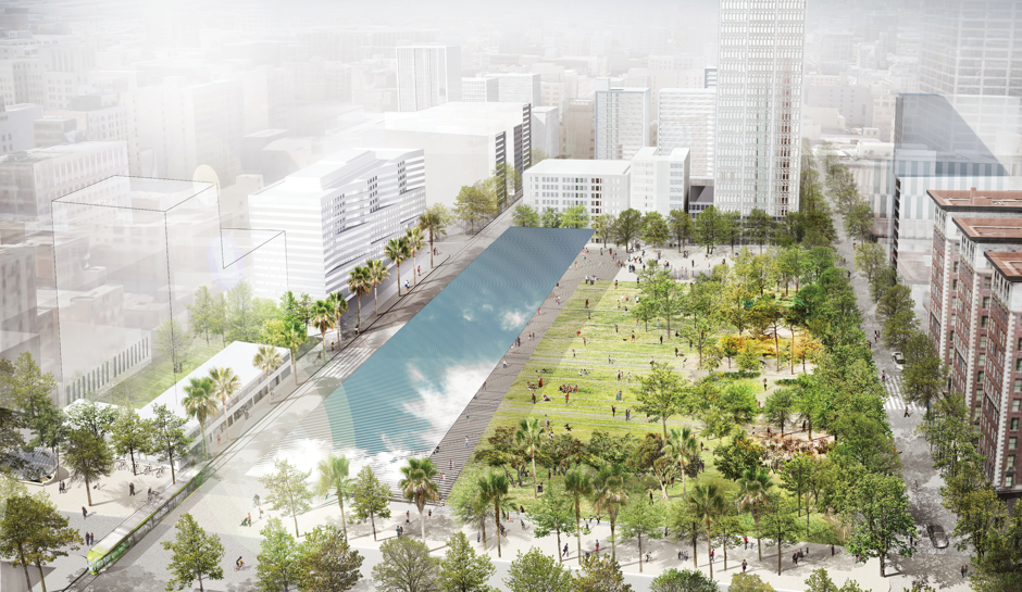 One rendering of a revamped Pershing Square by the firm Agence TER.