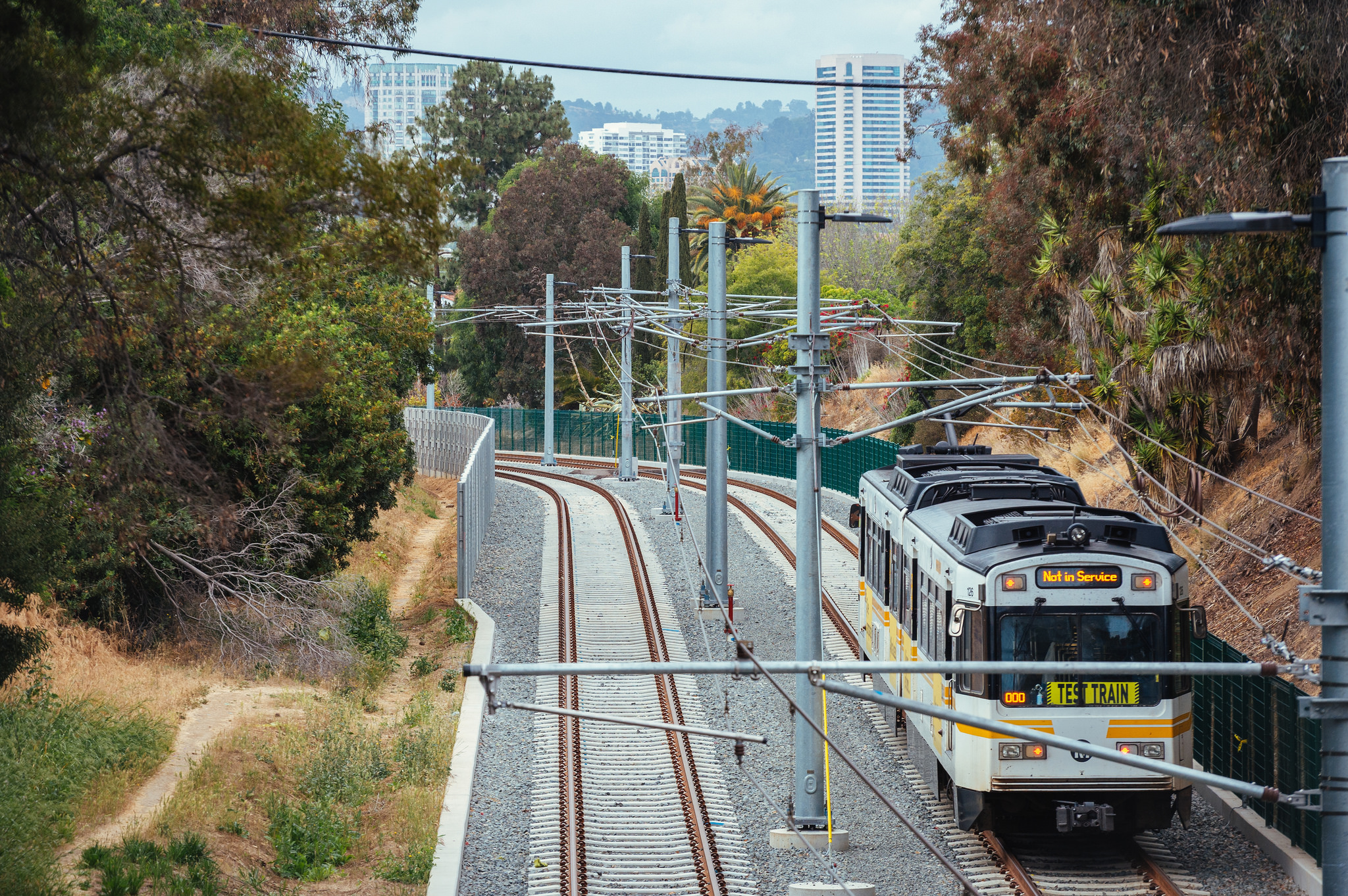 An Expo Line test train running through the Northvale trench adjacent to Cheviot Hills. Photo by Steve Hymon/Metro.