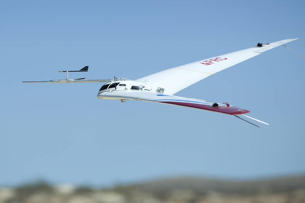 A NASA remote-piloted test plane that could theoretically lower fuel emissions. Click above to read a NASA article about it. Image Credit: NASA/Ken Ulbrich