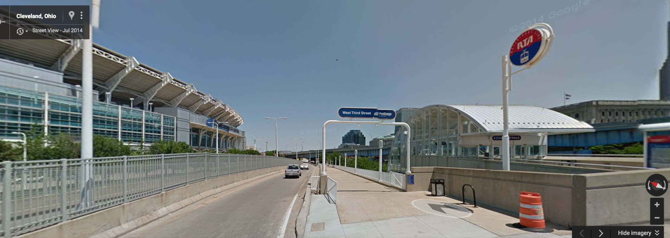 Even Cleveland has figured out a way to get light rail to Browns games. Photo: Google Maps.