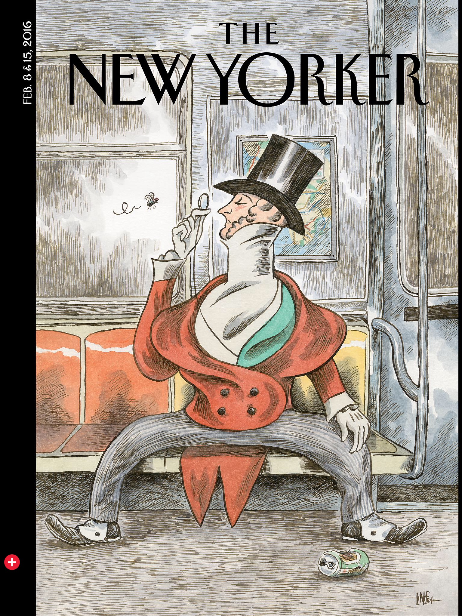 ICYMI: On the latest New Yorker cover, the magazine's mascot is a manspreader. Tsk tsk.