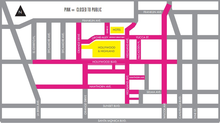 Oscars Street Closures, Feb 28