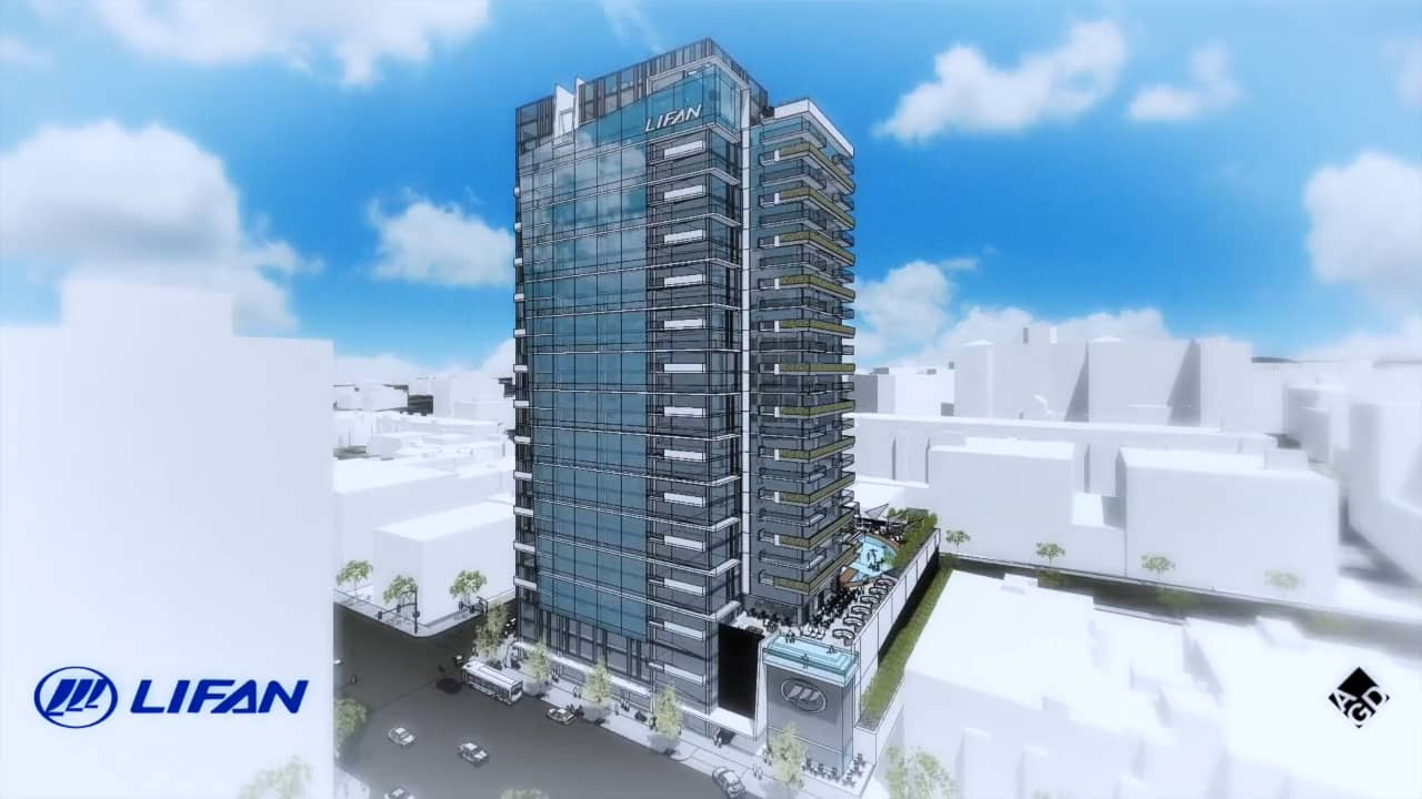 This new building proposed for 7th Street on the west side of the 110 Freeway, about a half-mile from 7th/Metro Center.