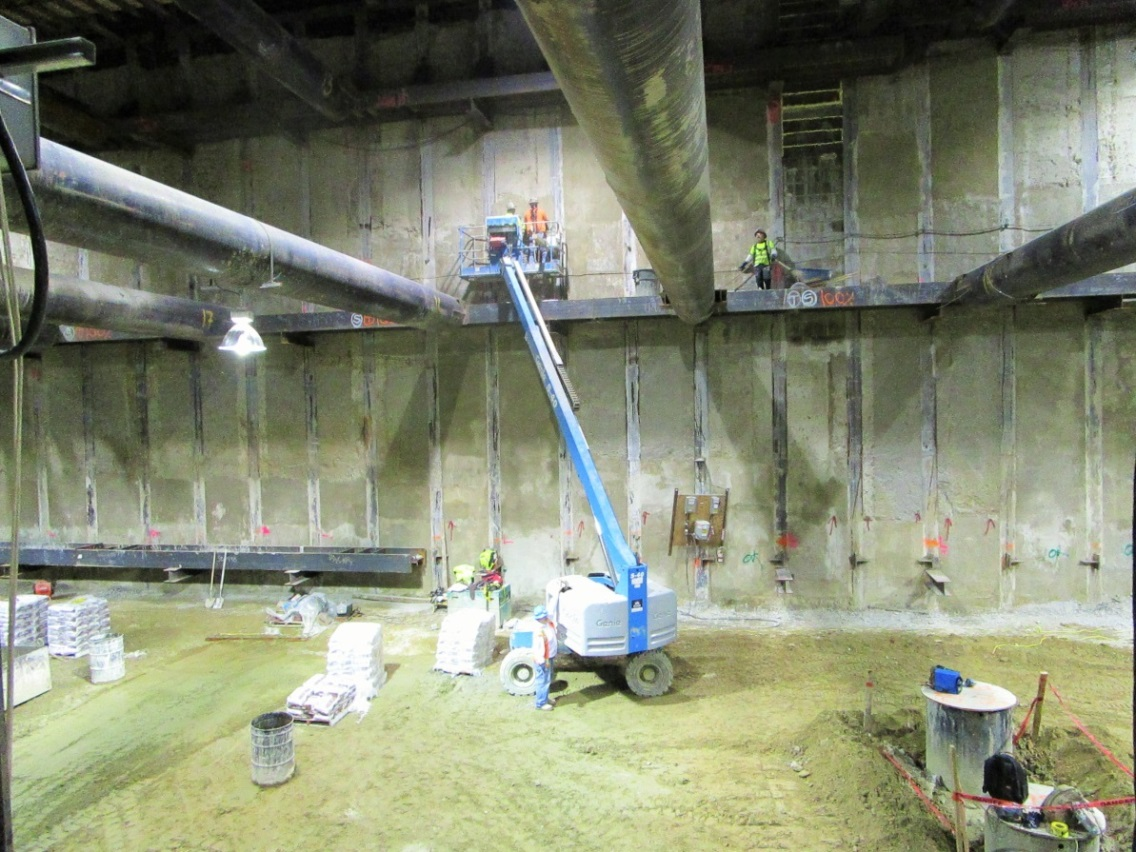 Smoothing the walls in MLK Station.