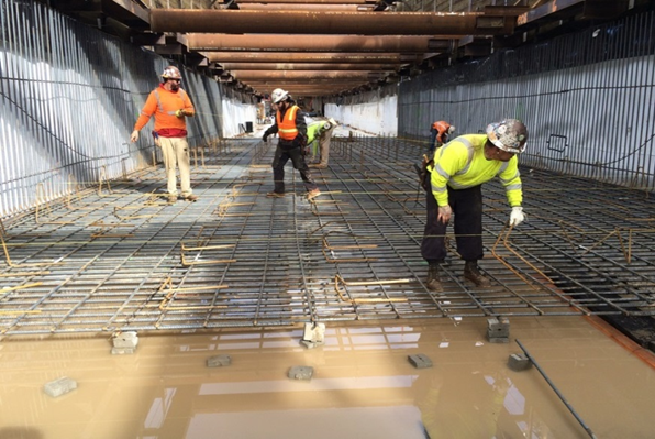 Work on the trench where trains will run near LAX.