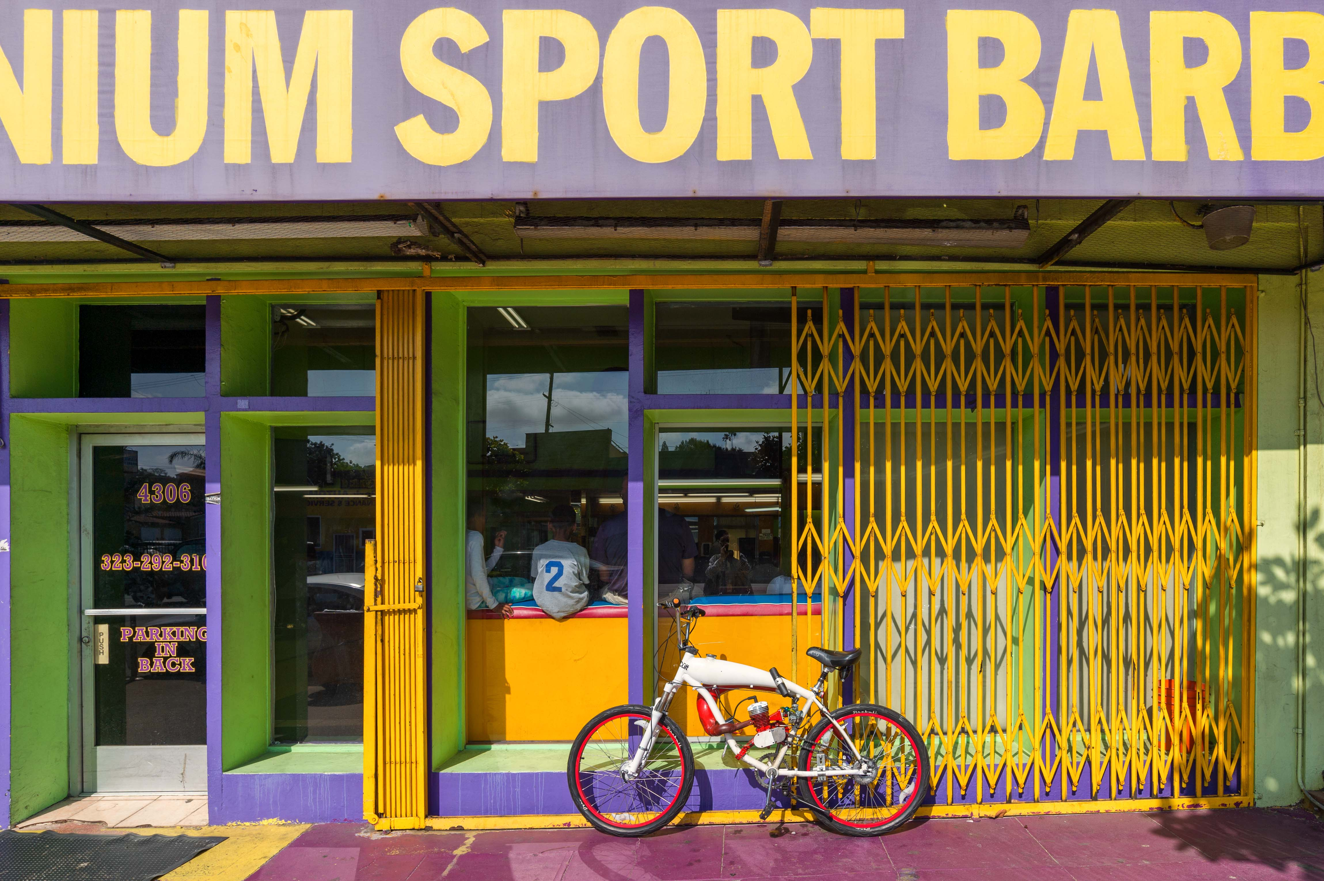 Nice colors the other day at the New Millennium Sports Barber Shop on Crenshaw Boulevard. Photo by Steve Hymon/Metro.