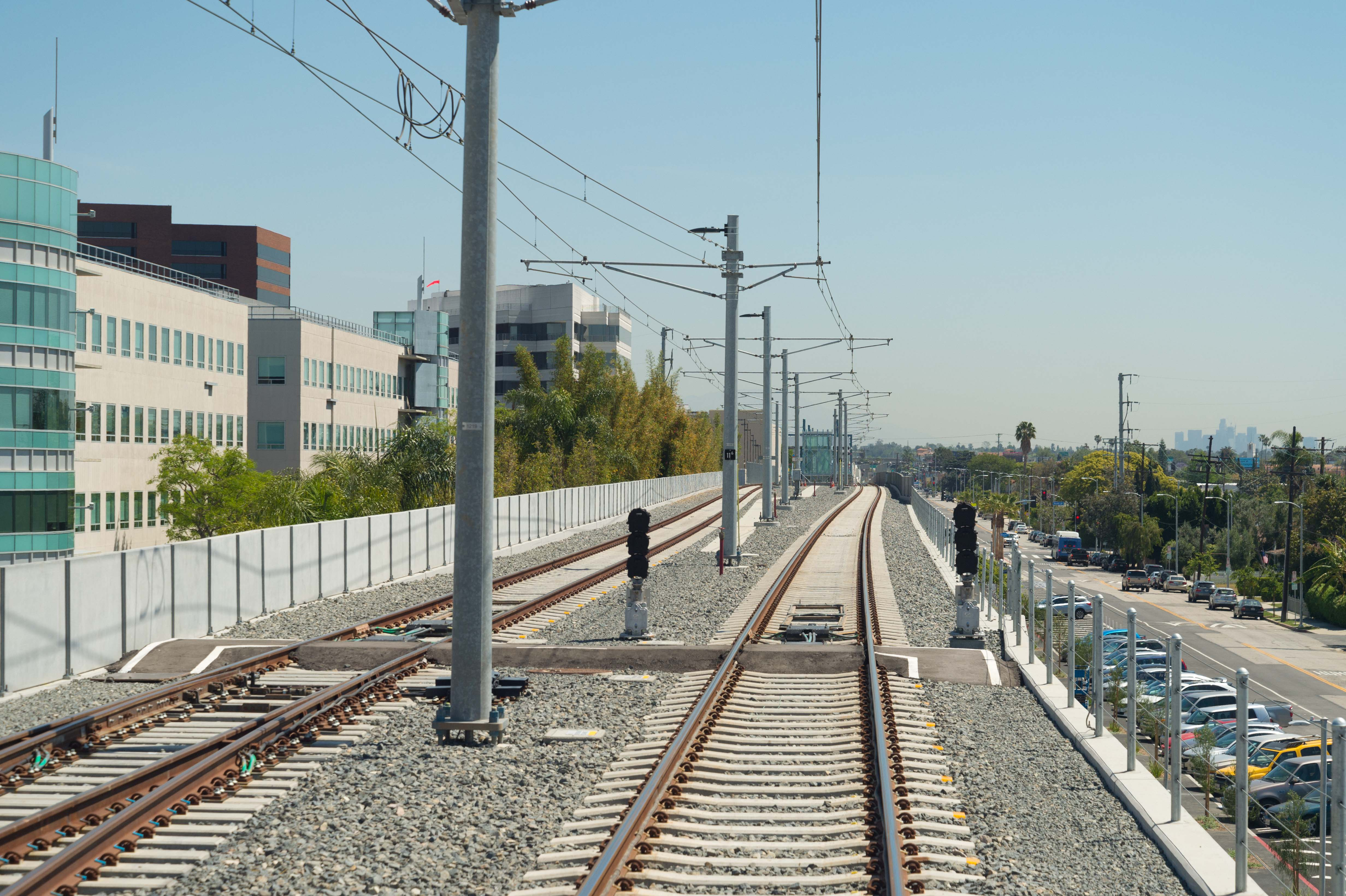 Parking at the Bundy station can be seen to the right of the tracks. Photo by Steve Hymon/Metro.