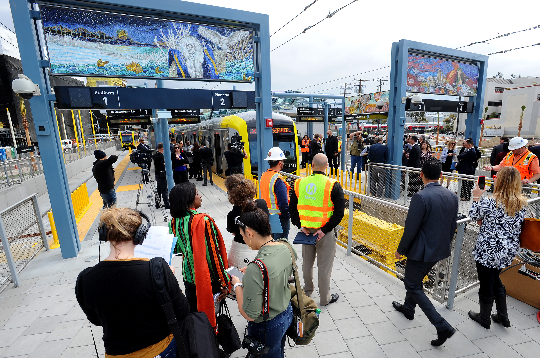 SANTA MONICA, CA - MAY 9: Expo Line VIP train to Santa Monica station on May 9, 2016 in Culver City, California.