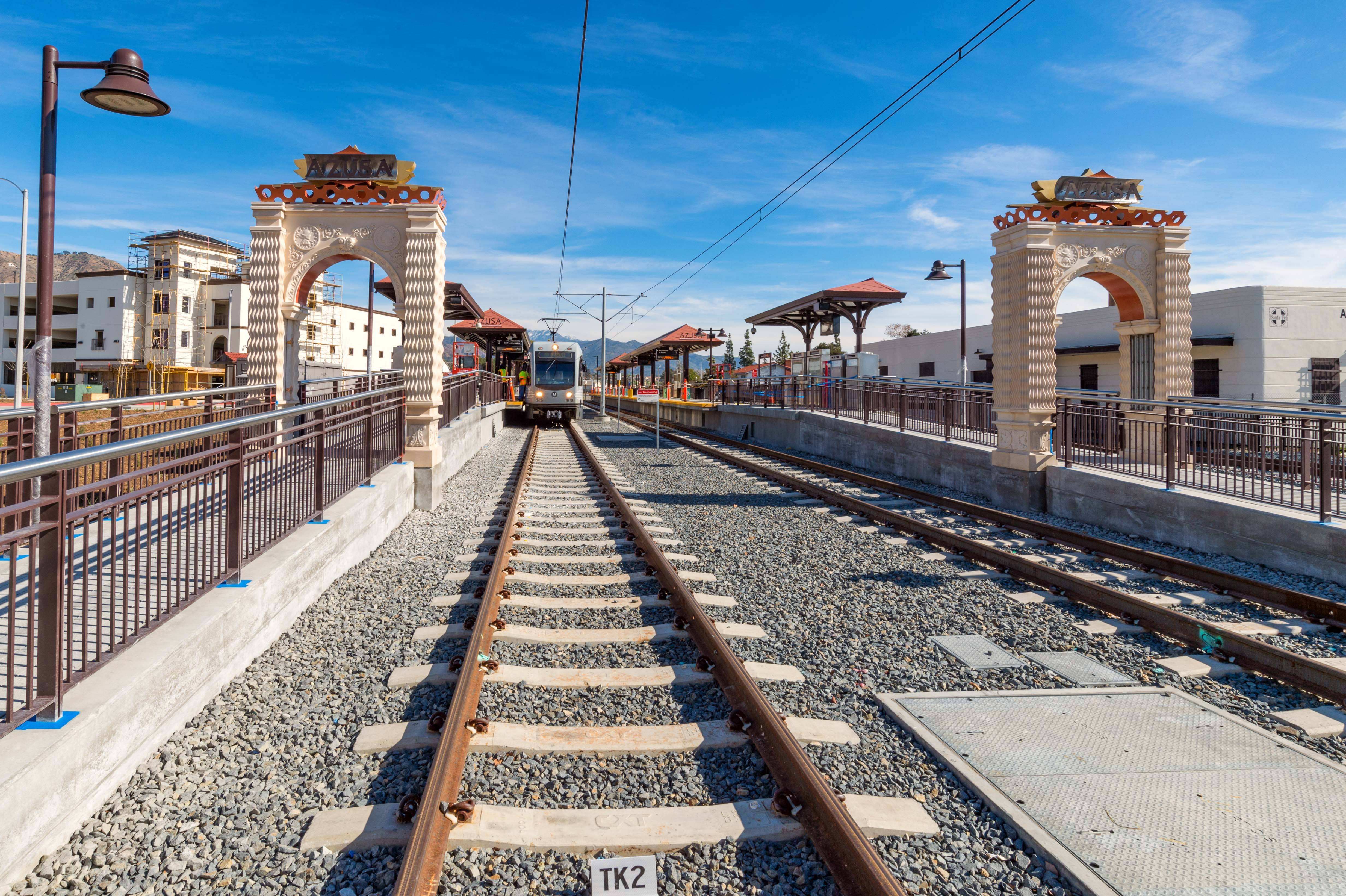 A Gold Line test train at Downtown Azusa Station. The garage is at left. Photo by Steve Hymon/Metro.