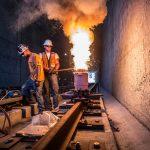 Welding rail under the 10 freeway. Photo: Jeff Zucker/Expo Construction Authority.