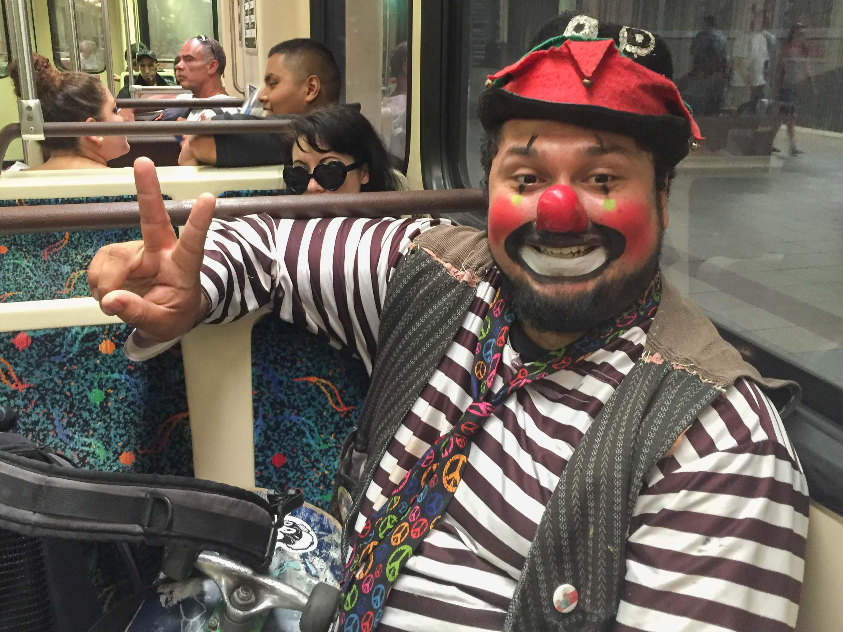 My first encounter with a clown on a train at Union Station today. Photo by Steve Hymon/Metro.