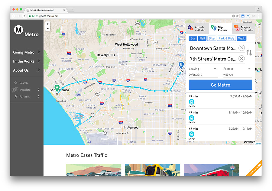 Screen capture of Trip Planner on the new Metro website, currently in beta-testing.