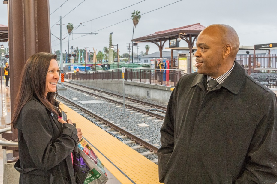 Phil greeting passengers at the Monrovia Gold Line station in March. Photo by Steve Hymon/Metro.