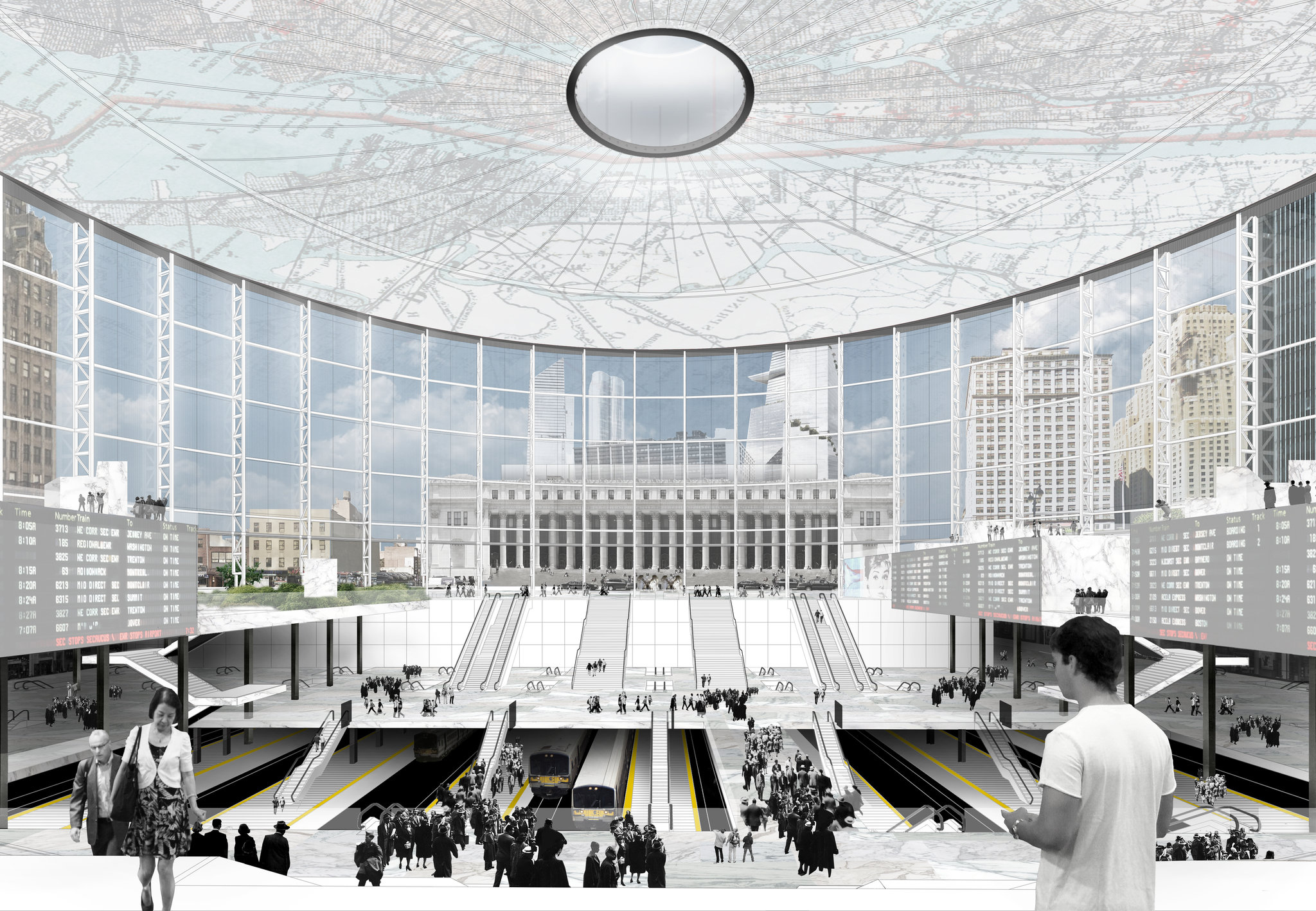 A fanciful rendering of MSG and Penn Station. Credit: NYT.