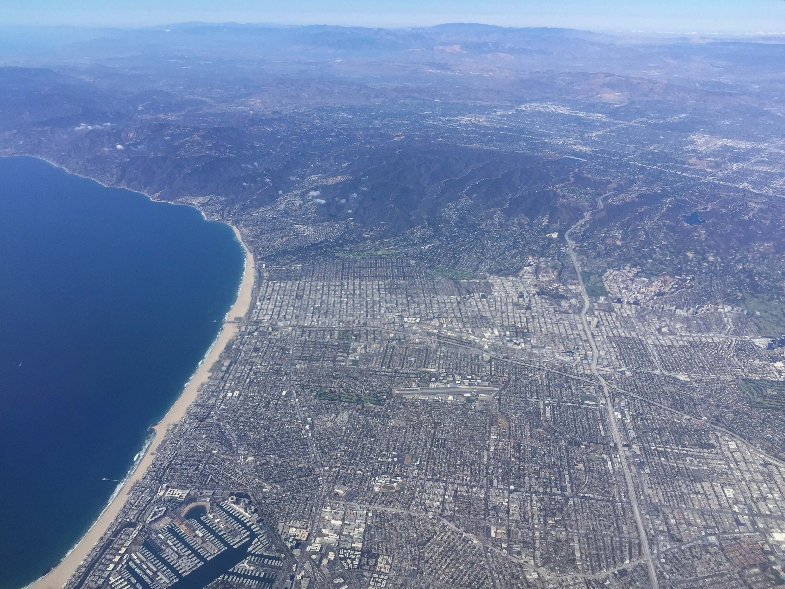 Marina del Rey is at bottom and that's the 10 freeway about center frame. If you look real close, you can see the Expo Line slicing across Cheviot Hills on the right side of frame. Photo by Steve Hymon.
