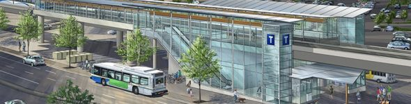 A light rail station in suburban Vancouver that is being funded and built as a P3 project.