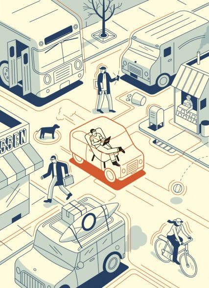 Credit: The New Yorker. Illustration by Harry Campbell. Click above to read their 2013 story on self-driving caras.