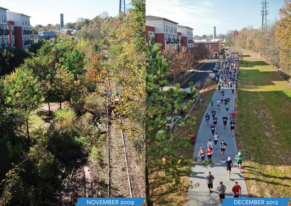 A before and after view of part of the Atlanta Belt Line project. Credit: Atlanta Belt Line.