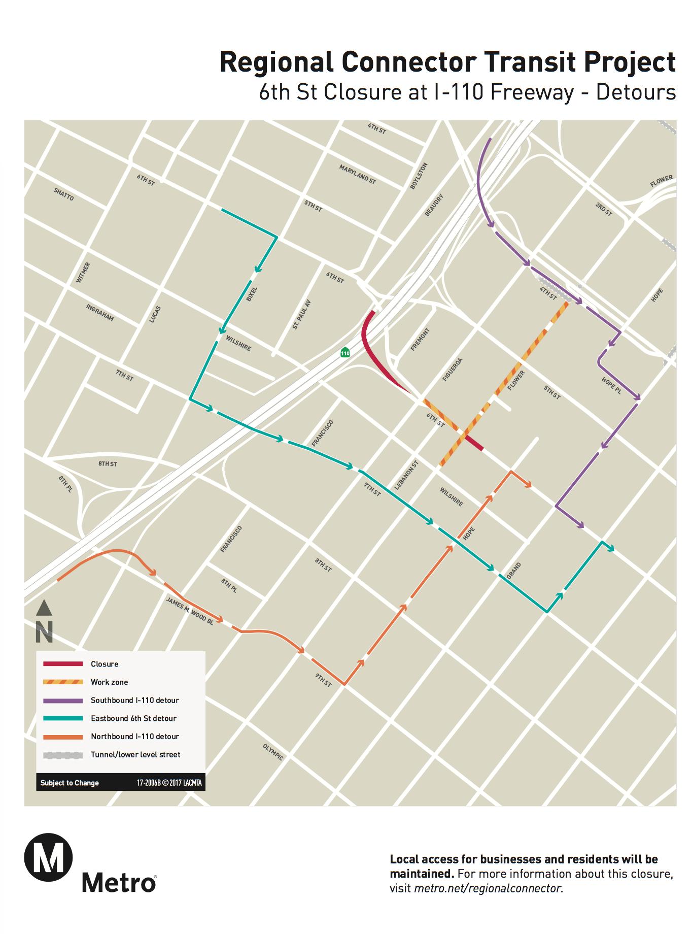 Five month closure of 6th Street between Flower and Hope begins June
