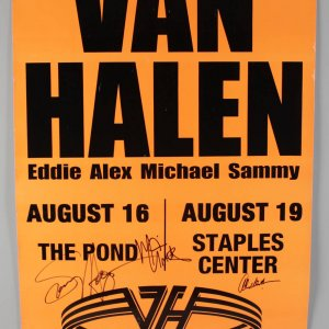 "Van Halen Signed ""The Pond"" Poster - Eddie Van Halen, Alex Van Halen, Michael Anthony, Sammy Hagar (JSA Full LOA)"