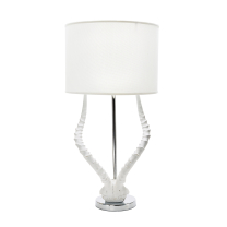 mirens - White Faux Horn Lamp With White Shade