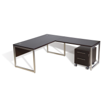 mirens - 63 Office Desk with 48 Return with Alumimum Base & Mobile Pedestal